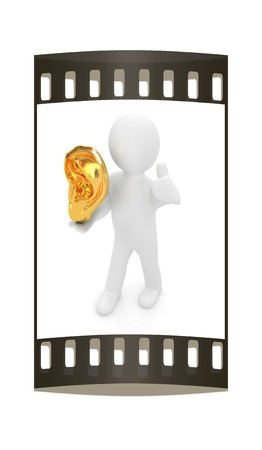 3d man with ear gold 3d render isolated on white background. The film strip photo