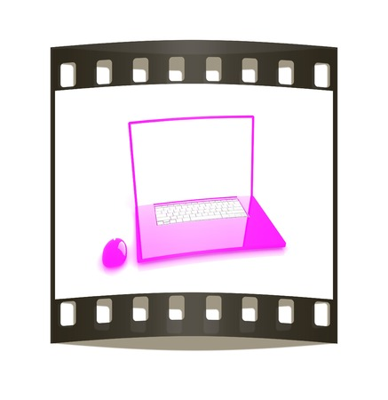 powerbook: Pink laptop on a white background. The film strip