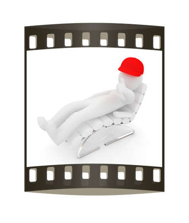 sammer: 3d white man lying chair with thumb up on white background. The film strip Stock Photo