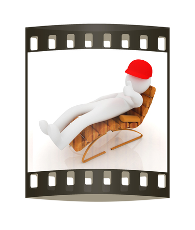 sammer: 3d white man lying wooden chair with thumb up on white background. The film strip