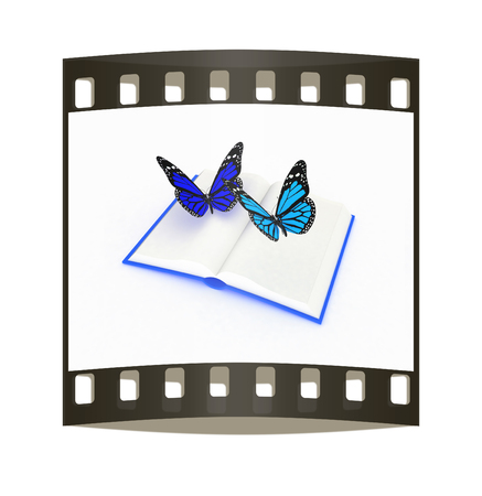 butterfly on a book on a white background. The film strip photo