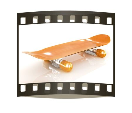skateboard park: Skateboard on a white background. The film strip