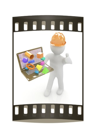 geodesist: 3D small people - an engineer with the laptop presents 3D capabilities on a white background. The film strip