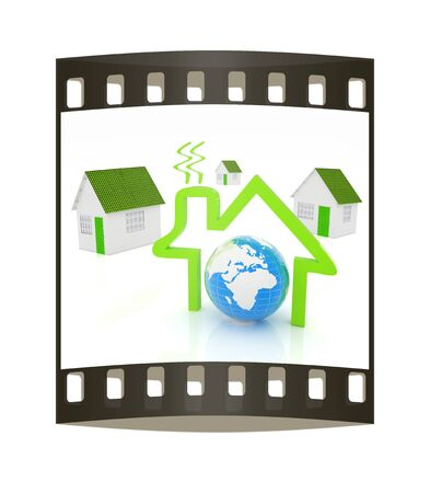 habitable: 3d green house, earth and icon house on white background. The film strip