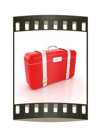 travelers suitcase. The film strip photo