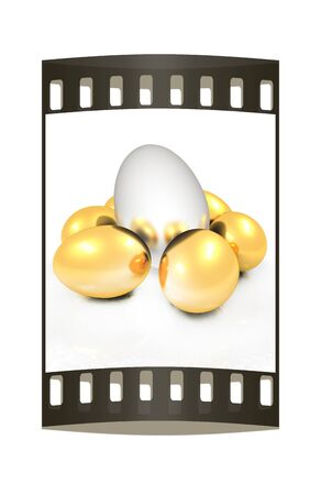 gold eggs: Big egg and gold eggs. The film strip