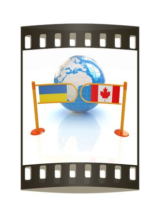 spangled: Three-dimensional image of the turnstile and flags of Canada and Ukraine on a white background. The film strip
