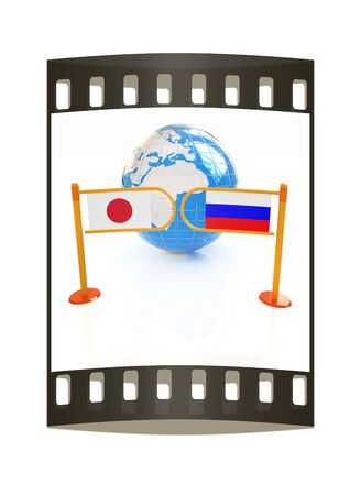 Three-dimensional image of the turnstile and flags of Japanese and Russia on a white background. The film strip photo