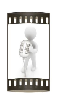 chrome man: 3D man with a microphone on a white background. The film strip Stock Photo