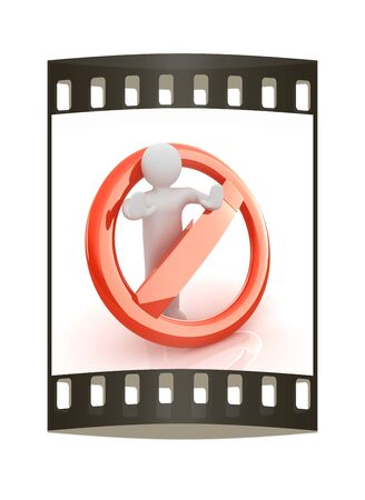 3d person and stop sign. The film strip photo