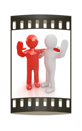 Friends standing next to an embrace and raised ones hand for greeting. 3d image. Isolated white background. The film strip photo