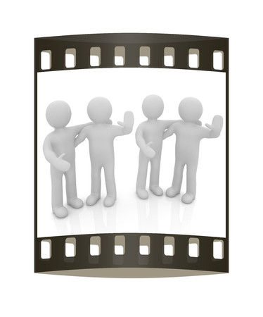 embrace: Friends standing next to an embrace and raised ones hand for greeting. 3d image. Isolated white background. The film strip Stock Photo