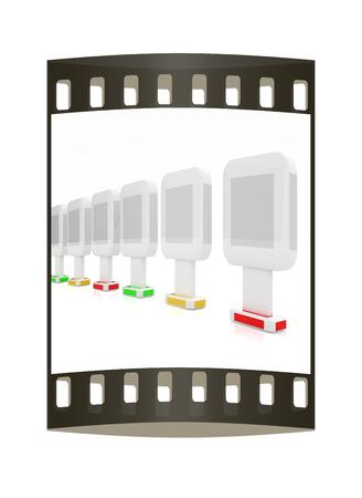 adboard: Vertical glossy billboards. 3d illustration on white background. The film strip