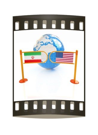 truce: Three-dimensional image of the turnstile and flags of USA and Iran on a white background. The film strip