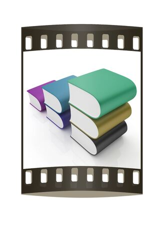 Glossy Books Icon isolated on a white background. The film strip Stock Photo