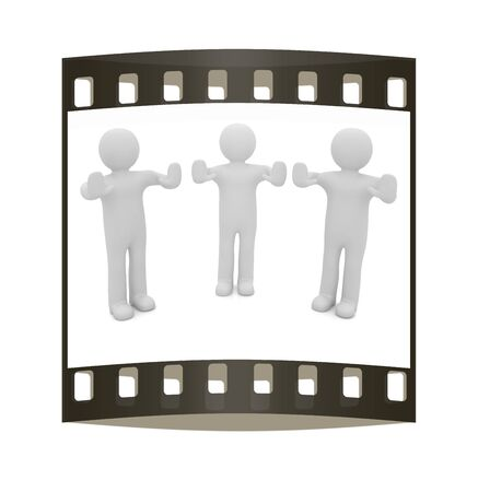 veto: 3d mans. Ban, veto, warning concept - making stop gesture. The film strip Stock Photo