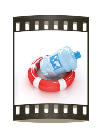 botle: botle on lifeboy. The film strip Stock Photo