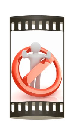 denial: 3d person and stop sign. The film strip