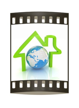 circuit sale: 3d green icon house, earth on white background. The film strip
