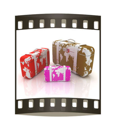 suitcases for travel. The film strip photo