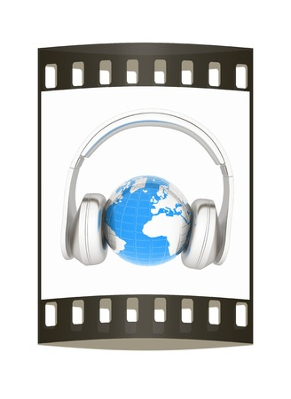 soundtrack: abstract 3d illustration of earth listening music. The film strip