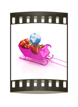 Christmas Santa sledge with gifts on a white background. The film strip photo