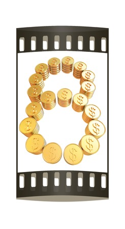 Number eight of gold coins with dollar sign isolated on white background. The film strip photo