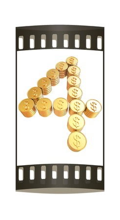 Number four of gold coins with dollar sign isolated on white background. The film strip photo