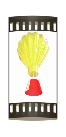 blimp: Hot Air Balloons with Gondola. Colorful Illustration isolated on white Background. The film strip Stock Photo