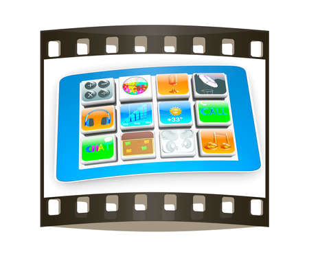 touchscreen: Touchscreen Smart Phone with Cloud of Media Application Icons on a white background. The film strip