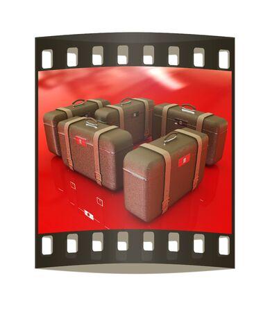 travelers: Brown travelers suitcases. Futuristic 3d illustration. The film strip