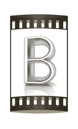 metall: 3D metall letter B isolated on white. The film strip