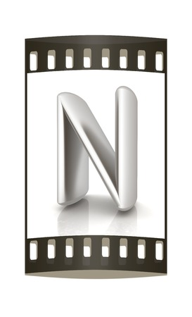 metall: 3D metall letter N isolated on white. The film strip