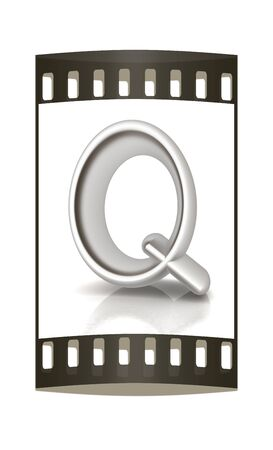 metall: 3D metall letter Q isolated on white. The film strip Stock Photo