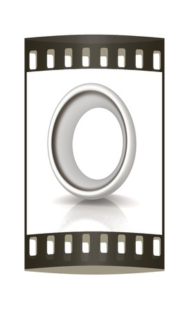 metall: 3D metall letter O isolated on white. The film strip