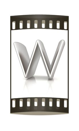 metall: 3D metall letter W isolated on white. The film strip Stock Photo