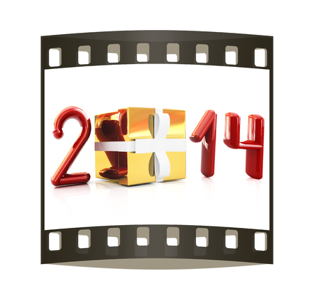 Abstract 3d illustration of text 2014 with present box on a white background. The film strip illustration
