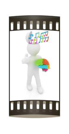 half note: 3d people - man with half head, brain and trumb up. Сomposer concept with colorfull note. The film strip