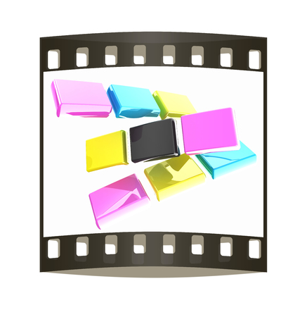 polygraphic: Glossy CMYK cubes on white. The film strip
