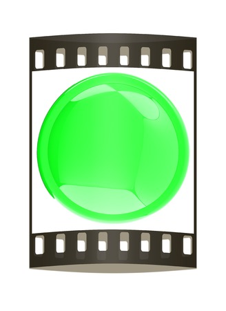 green button: Glossy green button. The film strip Stock Photo