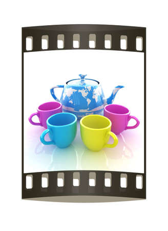 globally: colorfull cups and teapot for earth. Globally. Drink for the entire planet.Concept of communication. The film strip