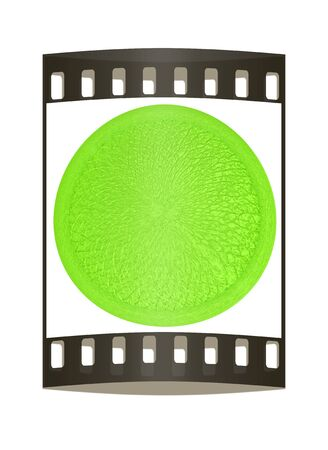 button with leather texture. The film strip photo
