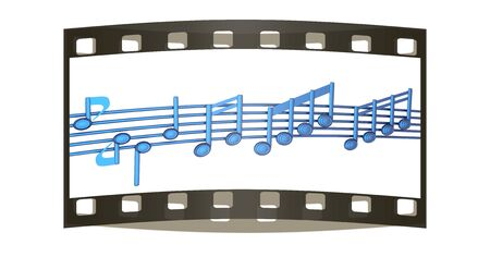 stave: Various music notes on stave. Blue 3d. The film strip Stock Photo