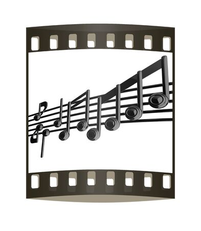 stave: Various music notes on stave. Black 3d. The film strip