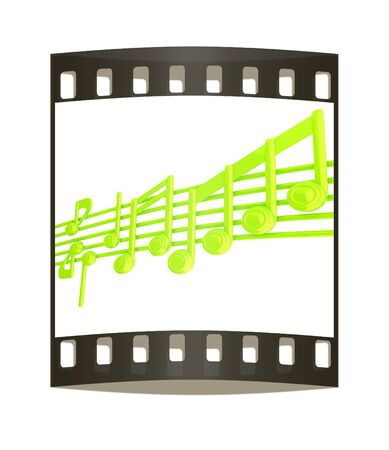 stave: Various music notes on stave. Green 3d. The film strip