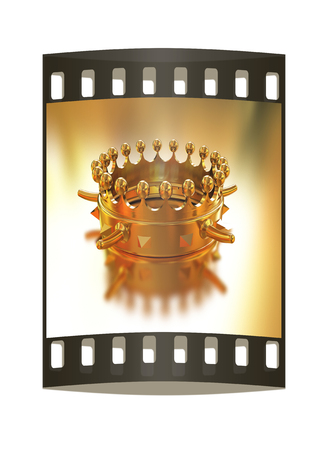 jeweled: Gold crown isolated on gold background. The film strip