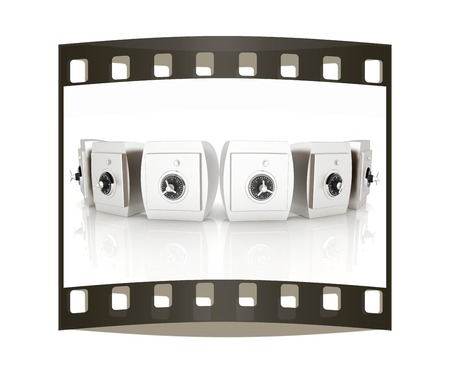safekeeping: Several safes. The film strip Stock Photo