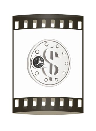 safe in the form of dollar coin icon. The film strip photo