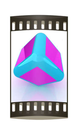 Abstract colorfull block 3d. The film strip photo