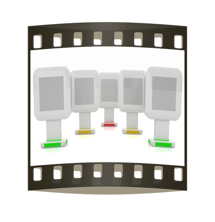 Vertical glossy billboards. 3d illustration on white background. The film strip illustration